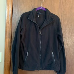 Lands End Fleece zip up size small black